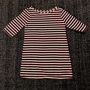 Old navy striped burgundy and white T-shirt dress